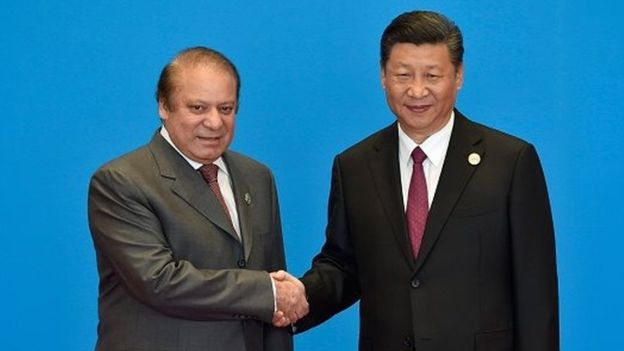 Under Xi Jinping (right) China is investing heavily in developing infrastructure in Pakistan